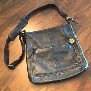 The Sak, Black Leather Cross Body Bag, Medium Size